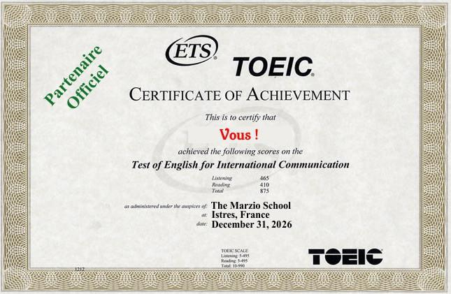 Toeic and The Marzio School